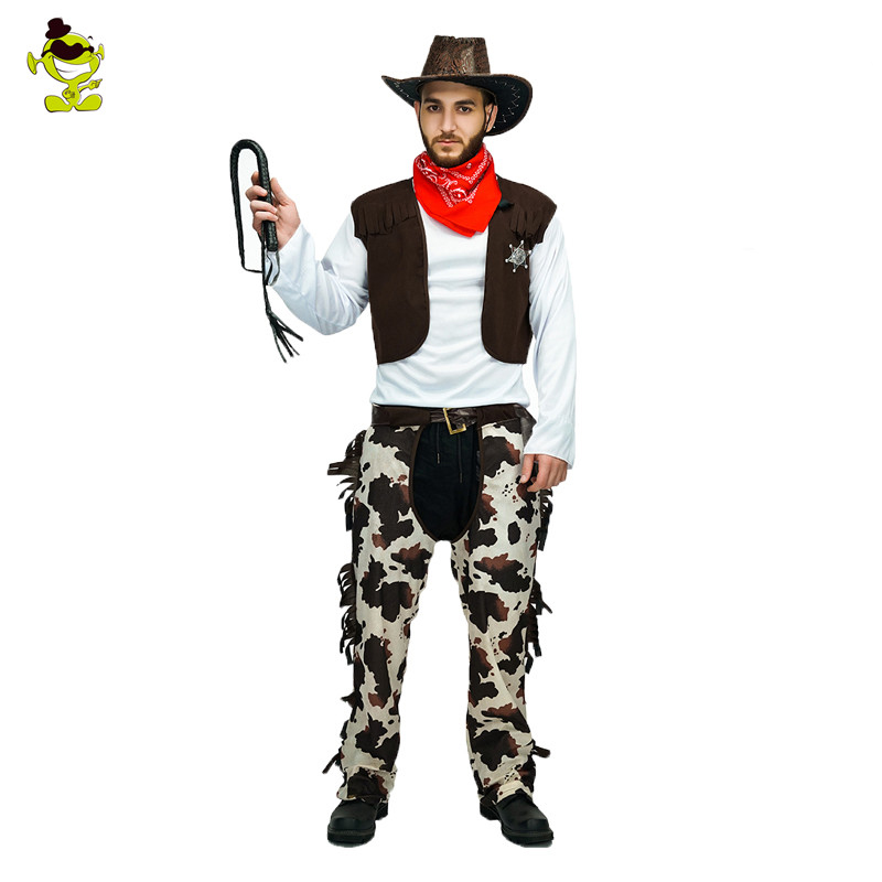 Men's western cowboy costume  halloween party fancy dress handsome cowboy  carnival party  clothing cosplay cowboy costumes
