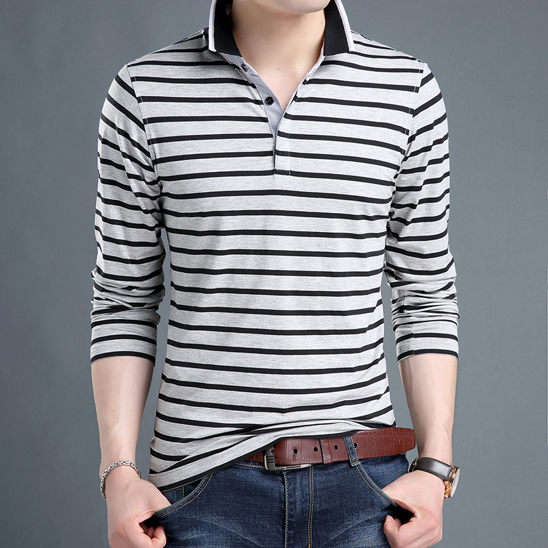 2019 Top Grade New Fashion Brands   Polo   Shirt Men's Striped Slim Fit Long Sleeve Boys Cotton Spandex   Polos   Casual Mens Clothing