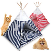 Portable Pet Teepee Tent Stripe Camping Tent Doghouse Pet Bed Cat House Foldable Dog Tents Bed for Small Dogs ( with Cushion )