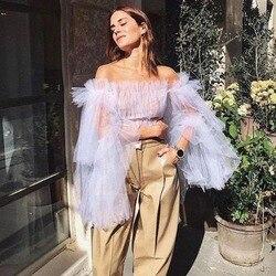 2019 High Street Lavender Tulle Women Blouses Puff Full Sleeves Off The Shoulder  Ruffles Top Custom Made Feminino Tnak Crop Top