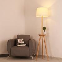 Modern Nordic Minimalism Simple Solid Wood Fabric Tripod E27 Floor Lamp For Living Room Bedroom Study