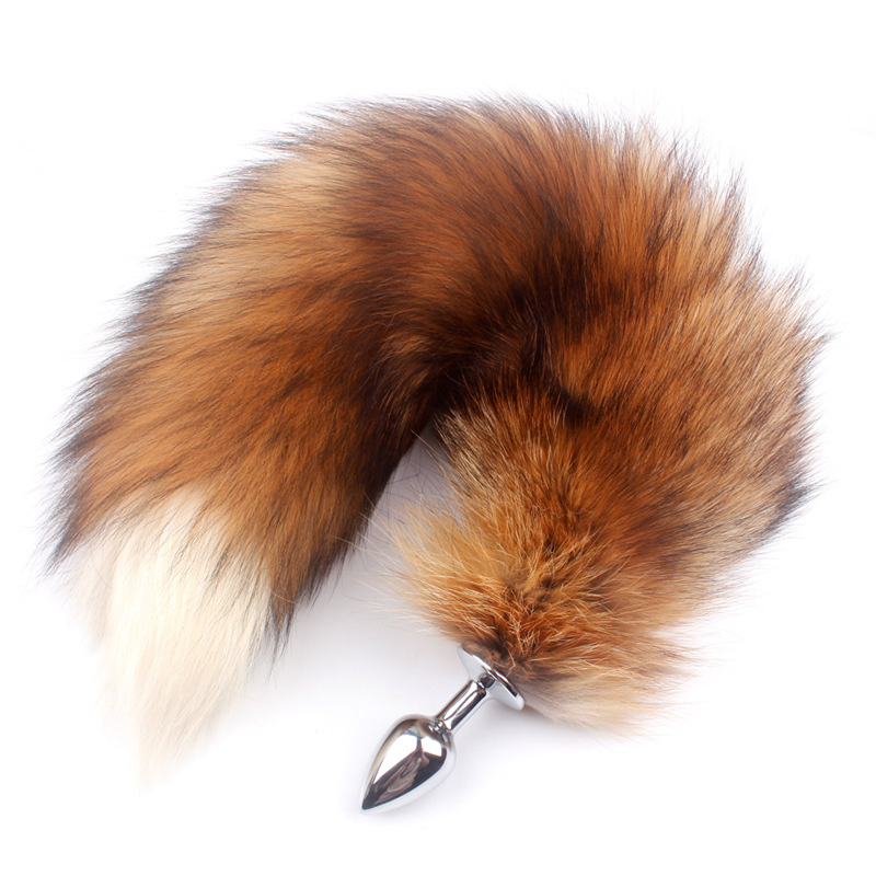 Fanala Drop Shipping Real Red Fox Tail Anal <font><b>Plug</b></font> Metal <font><b>Butt</b></font> <font><b>Plug</b></font> Animal Cosplay Tail Erotic <font><b>Sex</b></font> <font><b>Toy</b></font> for Couple 19.88'' Tail image