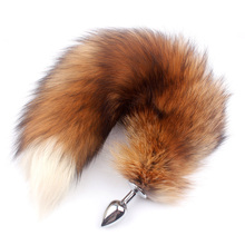 Fanala Drop Shipping Real Red Fox Tail Anal Plug Metal Butt