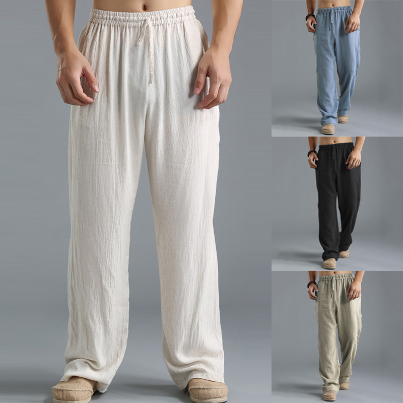INCERUN Brand Men's Thin Section Loose Straight Pants Solid Casual Pants Men Summer Large Size Wide Leg Joggers Trousers 4 Color