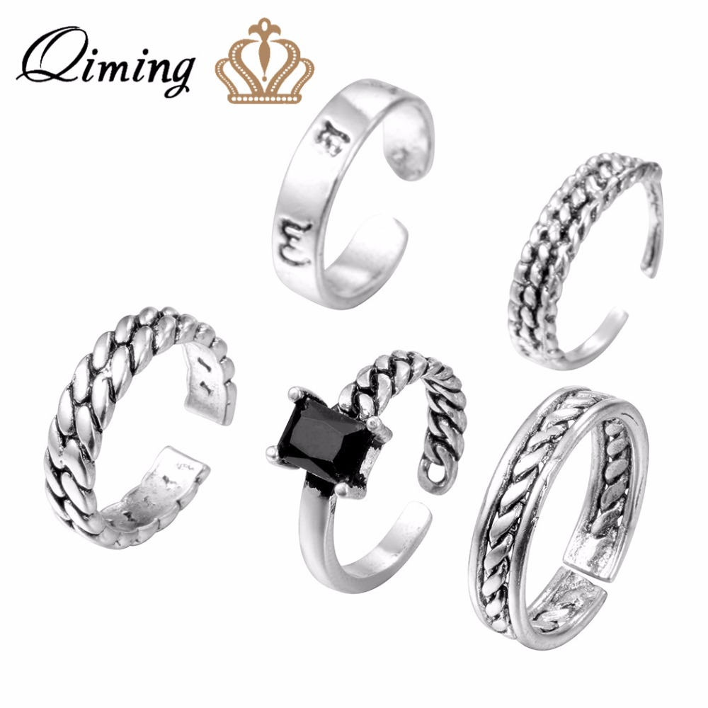 QIMING 5pcs/lot Handmade Antique Silver Rings Wave Zircon Round Open Ring Birthday Gift Men Women Punk Jewelry Finger Ring