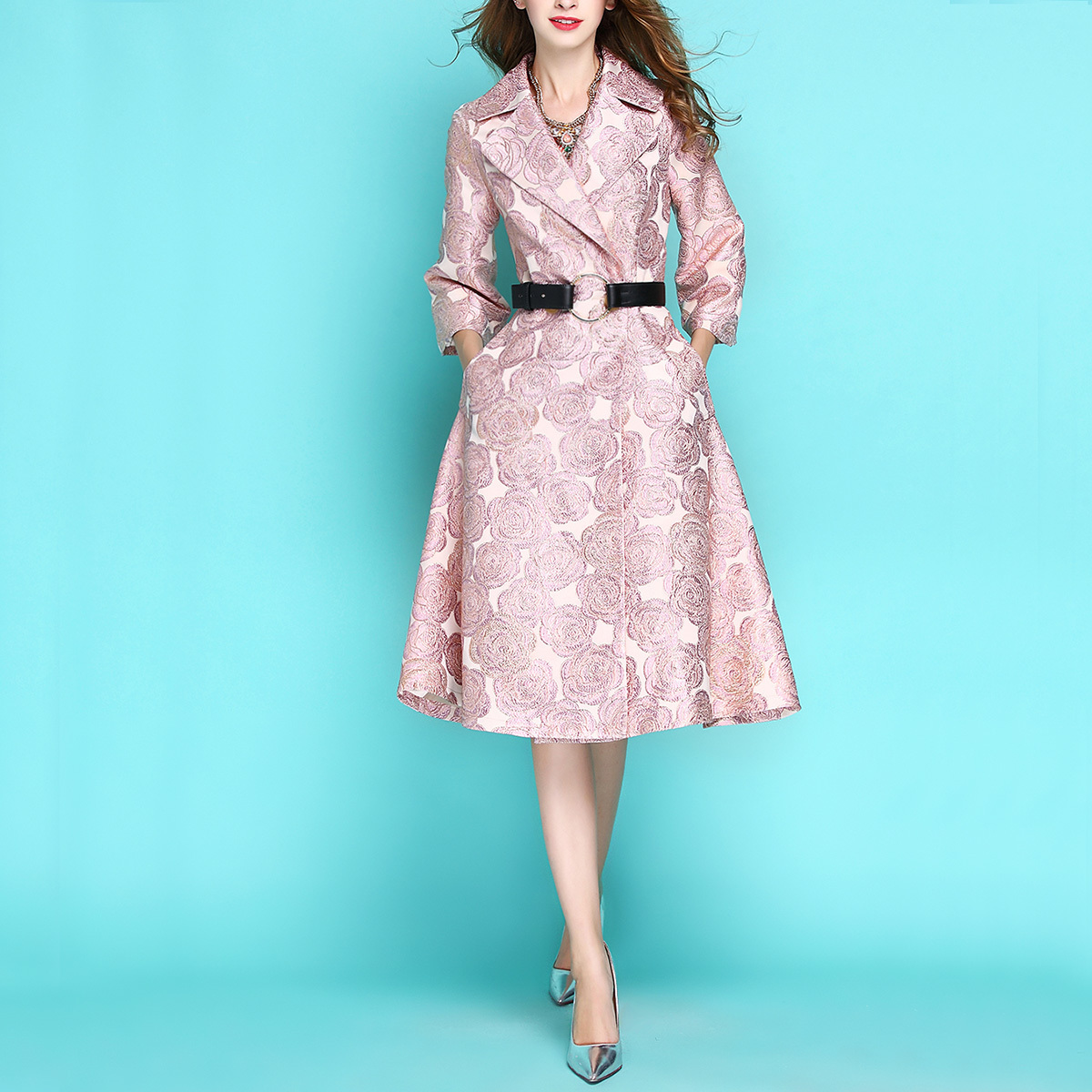 New Fashion Spring Autumn Women's Pink Jacquard Embroidery Luxury Windbreaker Long   Trench   Coat 3/4 Sleeve Slim Outwear