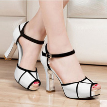Fashion Women'S Sexy High Heeled Spell Color Waterproof Fish Head Sandals Thick Heel T Strap Summer Shoes Chaussure Femme S2572