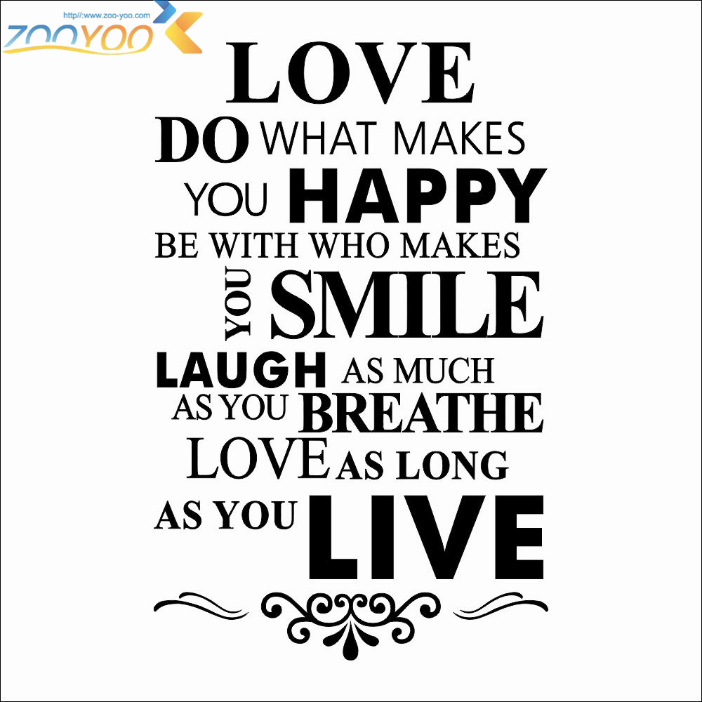 Happy Love Smile Live Life Inspirational Quotes Wall Stickers Living