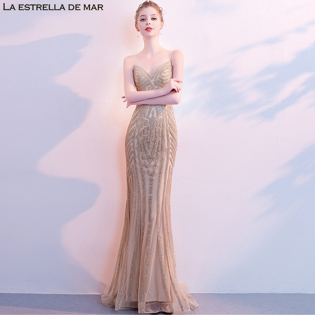 Vestido de festa longo2018 new crystal V neck sexy mermaid sparkling champagne bridesmaid dress luxury gaun pesta dewasa