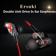 Ersuki Double Unit Drive In Ear Earphone Stereo auriculares High bass moving With Microphone Computer earbuds For Phone