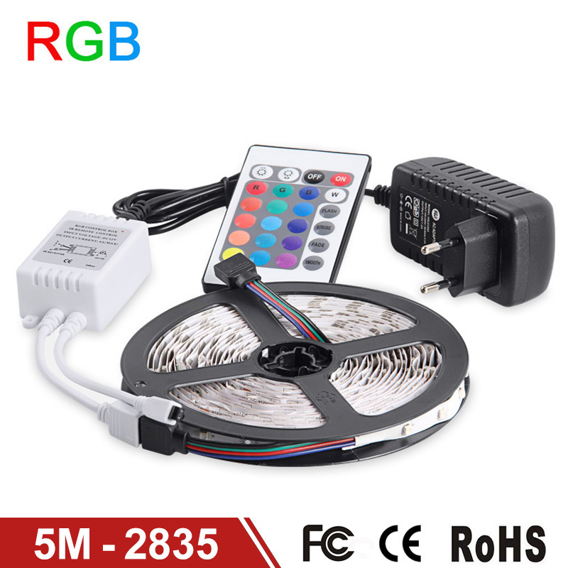 цены  RGB LED Strip Light 2835 SMD 5M 300LEDs Flexible Light LED Tape IR Remote Controller 12V 2A Power Adapter Home Decoration Lamps