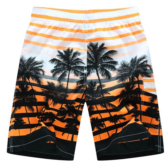 2018 Board shorts men casual Striped coconut tree print masculina de marca short homme moda Quick dry cargo Hawaii shorts M-6XL