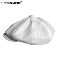 BUTTERMERE Linen Beret Hat Men Breathable Solid Newsboy Cap Male Summer Classic Duckbill Octagonal Brand Great Gatsby