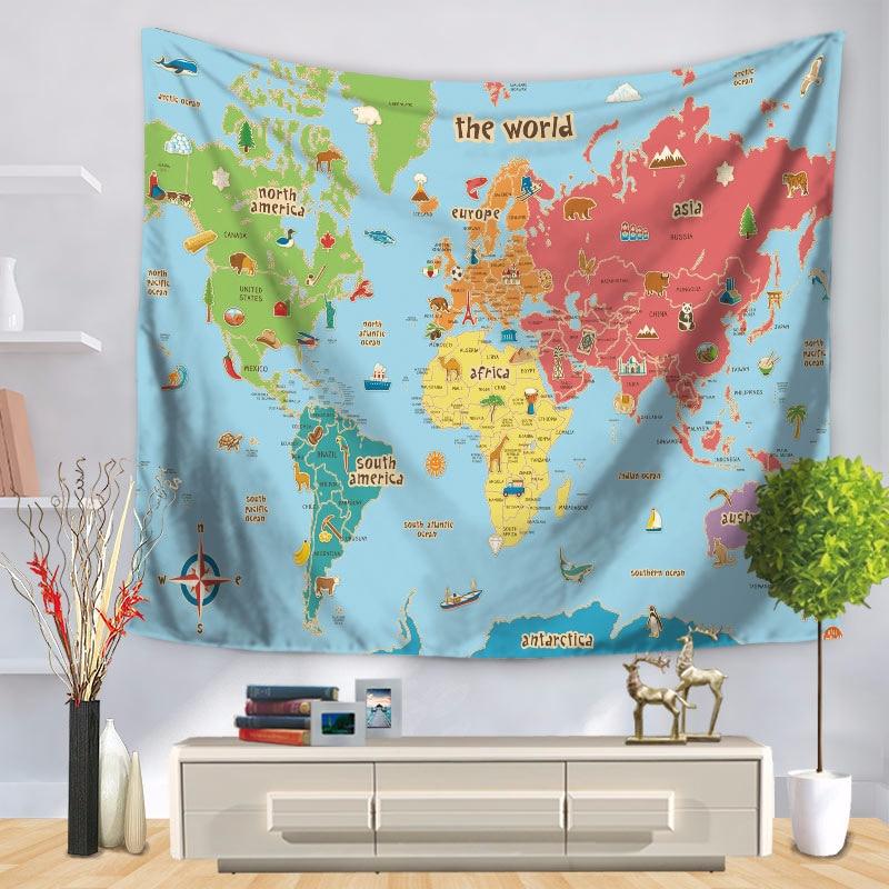 World Map Throw Rug: 150x130cm World Map Tapestry Lesser Bairam Wall Hanging