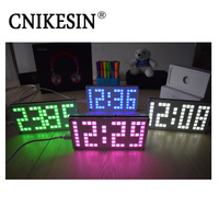 CNIKESIN DIY Kit DS3231 Adjustable Large Size Lattice Clock Electronic Kits Digital Clock With Acrylic Case