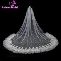 AOLANES 2018 Bridal Veil Luxurious Lace Flowers 3X3.5M Long Tail Appliques Romantic Bridal Veils Wedding Accessories