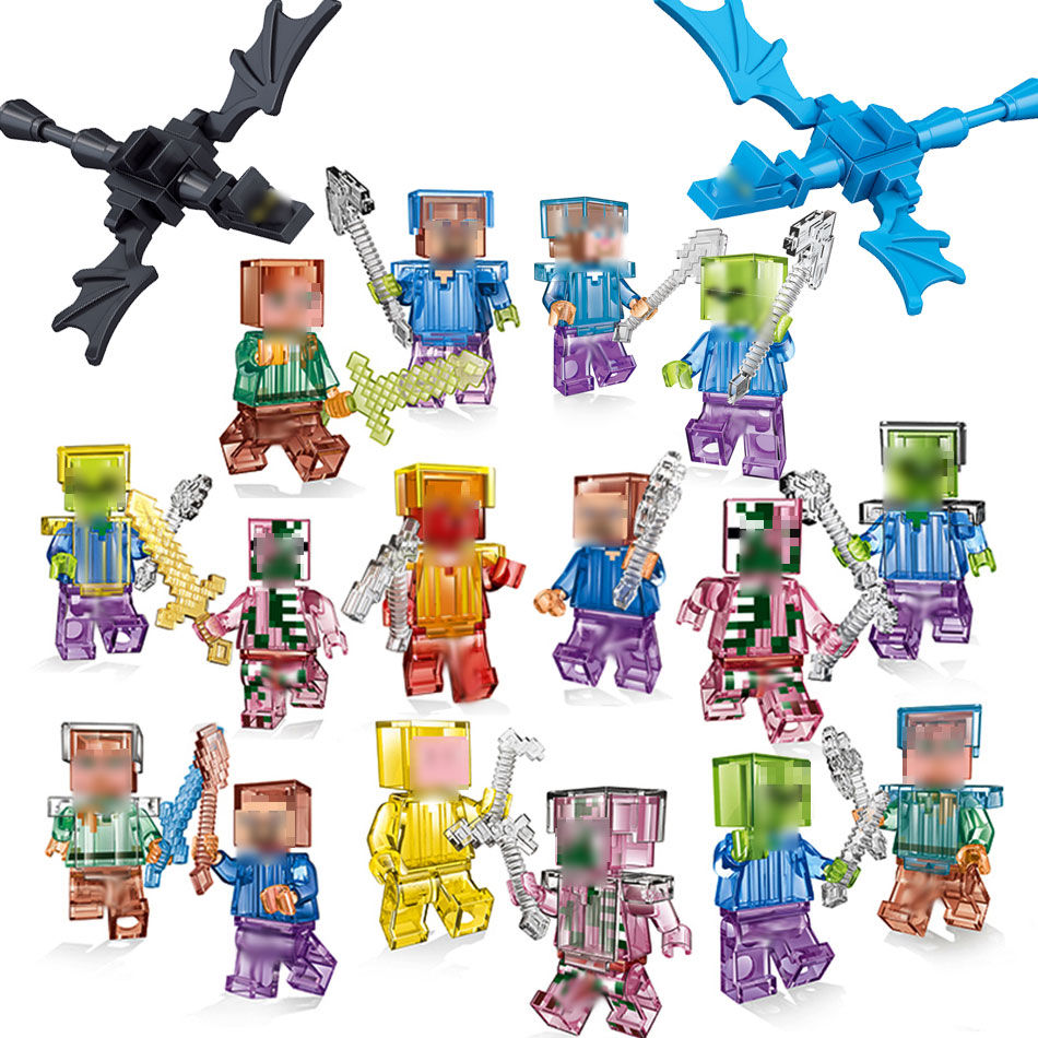 Crystal Mini Zombie Steve Figures Building Blocks Education Toys For Kids Compatible Legoe Minecraft Bricks Figures Brinquedos animal model figures big blocks toys compatible duploed giraffe panda lion monkey building blocks kids education toys for kids