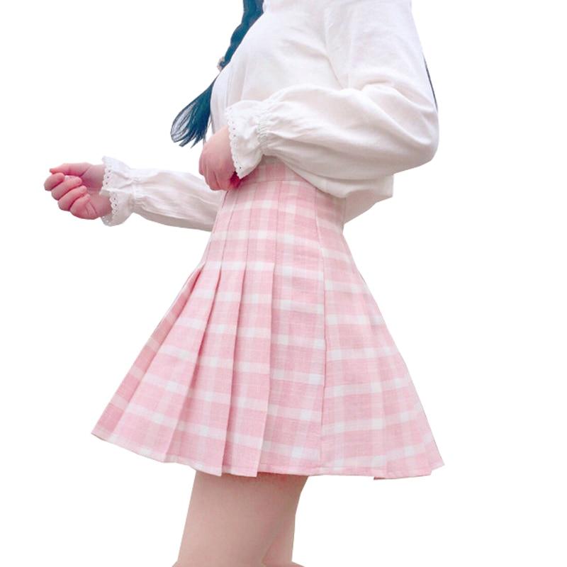 Harajuku Women Skirt Preppy Style Pleat Skirts Japanese Mini Cute School Uniforms Saia Faldas Ladies Jupe Kawaii Skirt