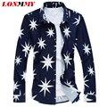 LONMMY M-5XL Mens camisas de vestido de slim fit Casual Para Hombre de largo manga del algodón de seda de La Manera de la Alta calidad Nuevo 2016 Mens florales camisas