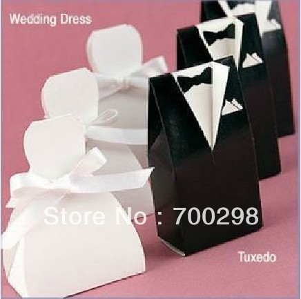 500pieces/lot Tuxedo Bride and Groom Wedding Favors Paper Candy Box , Free Shipping