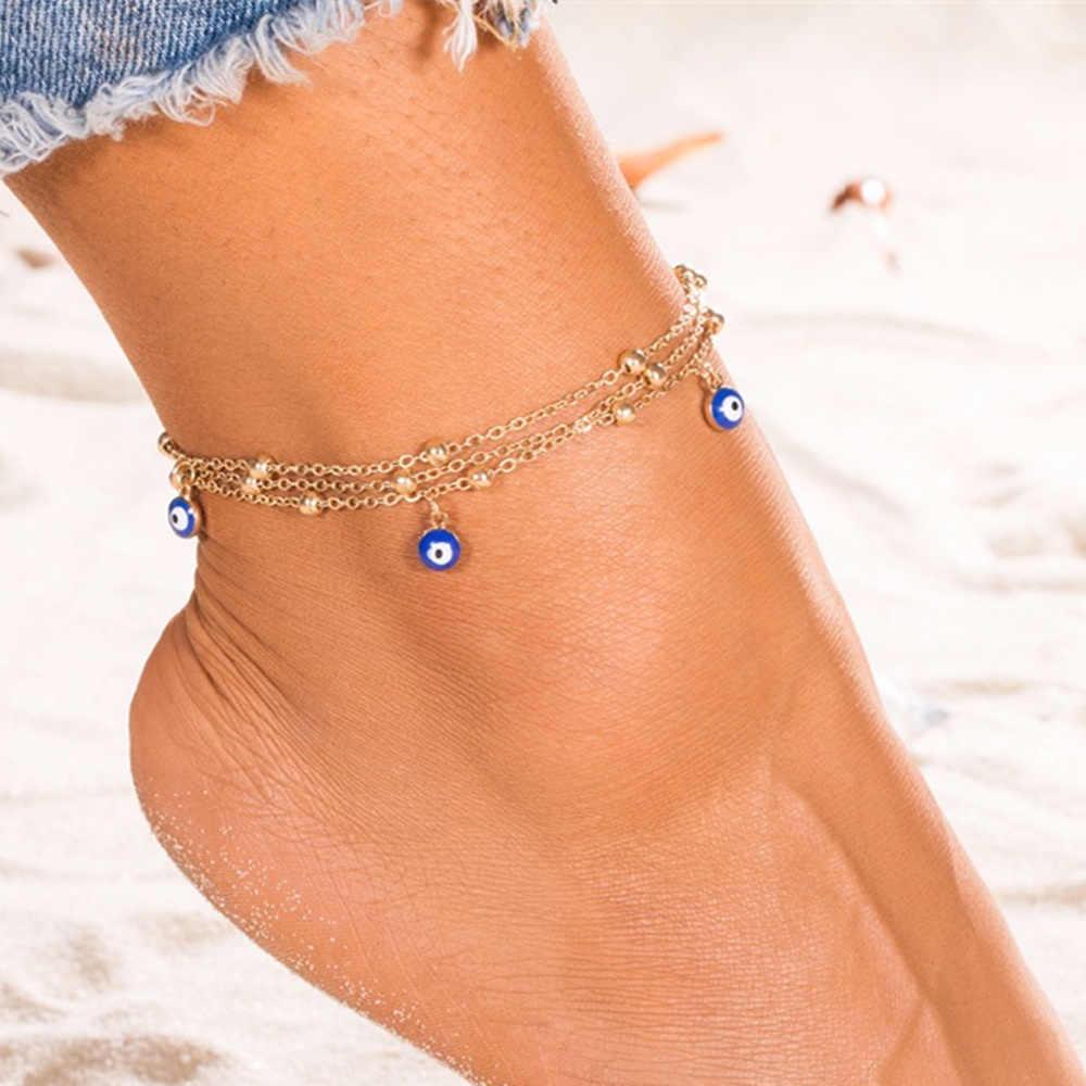 โบฮีเมียนหลายชั้นลูกปัดข้อเท้าสร้อยข้อมือสำหรับผู้หญิงขา CHAIN Blue Evil Eye พู่กัน 2019 ฤดูร้อนชายหาดเครื่องประดับ