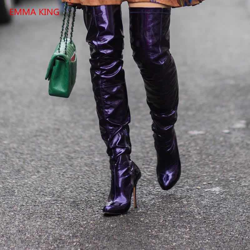 b66dfd86869 Fashion Pointed Toe Women Over The Knee Boots Luxury Patent Leather High  Heels Thigh High Boot