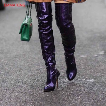 Fashion Pointed Toe Women Over The Knee Boots Luxury Patent Leather High Heels Thigh High Boot Woman Autumn Winter Shoes Booties