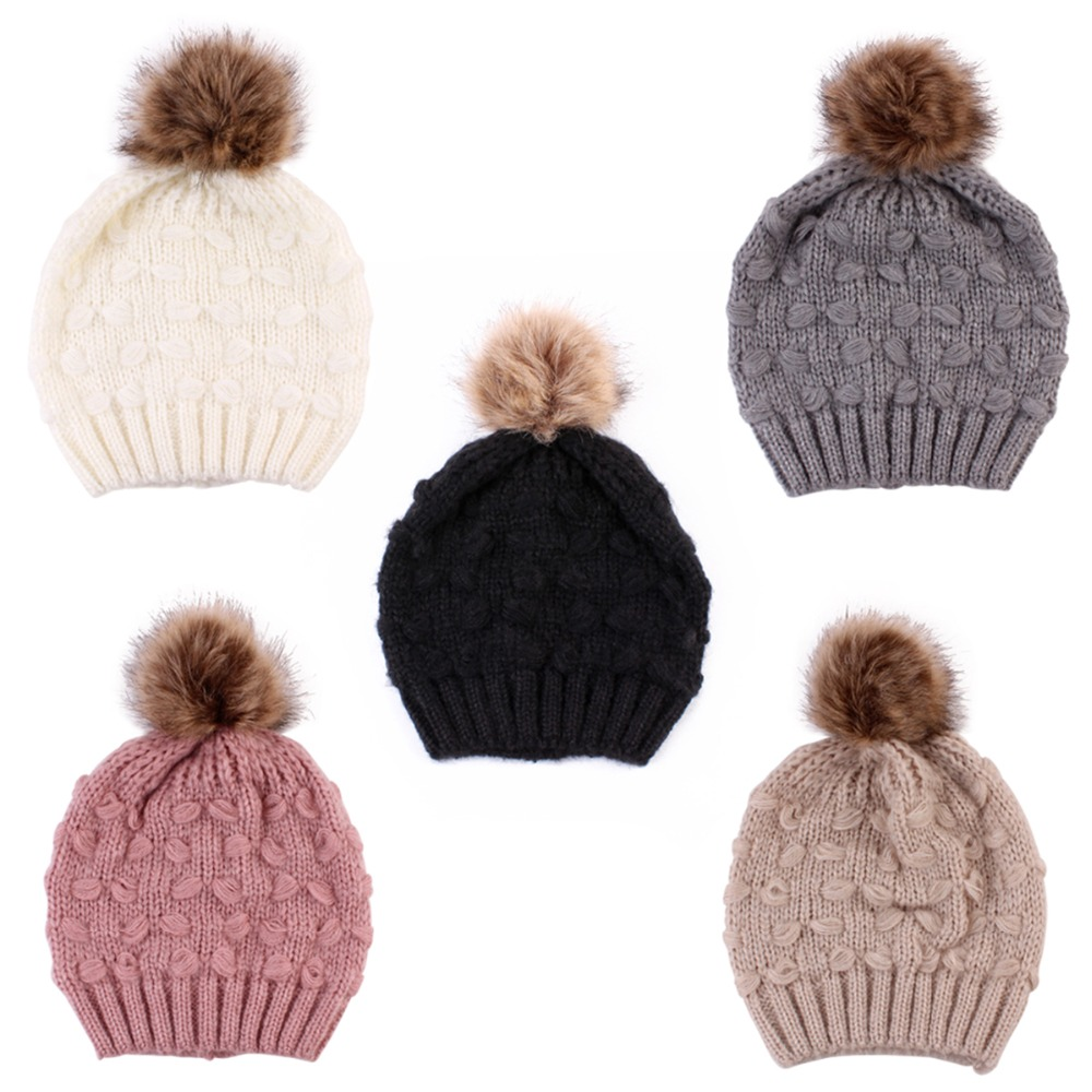 Acrylic Fiber Black/pink/khaki/rose Red/grey Color Boys Girls Unisex Knitted Hat Winter Warm Cap With Fuzzy Balls For Casual Fast Color Styling Tools