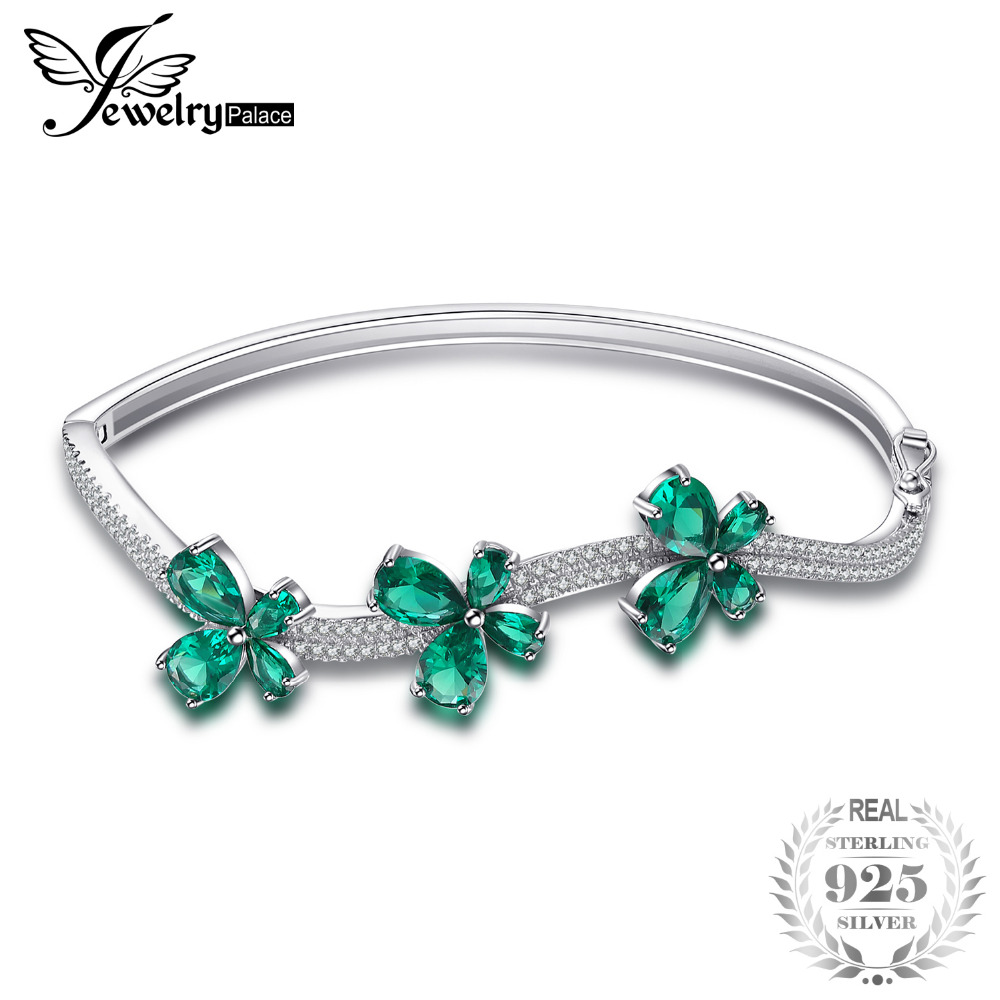 JewelryPalace Butterfly 3.7ct Created Emerald Bangle Bracelet 925 Sterling Silver Fashion Fine Jewelry For Women 2018 5pcs fashion 925 sterling silver fine jewelry bangle