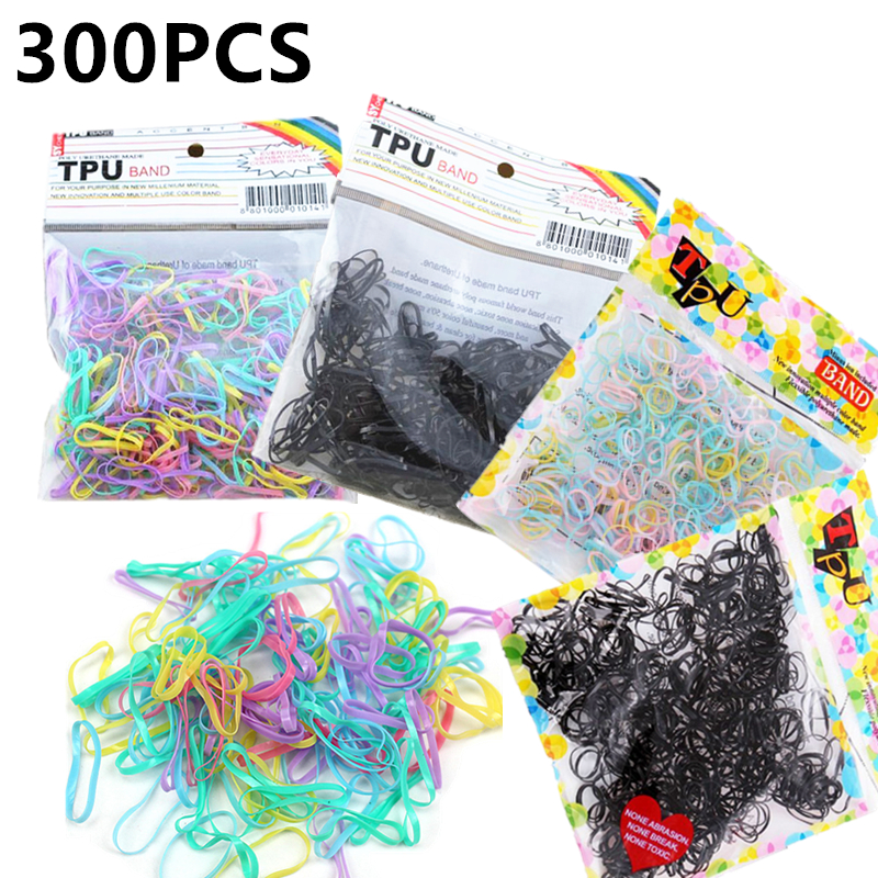 300Pcs Elastic Hair Bands Rope Ponytail Rubber Tpu Hair Holders Ties Braids Plaits Hairwear Hair Accessory for Women Girls