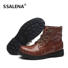 Men Winter Ankle Boots Male Lace Up Working Motorcycle Boots Men Wearable Fashion High-Cut Vintage Style Footwear Shoes AA60540