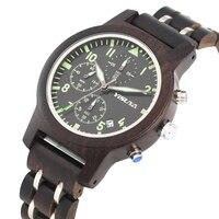 Mens Watch Quartz Wooden Watch Luminous Function Six pin Chronograph Dial Watch Fashion Calendar Wooden Wristwatch Relojes Gift