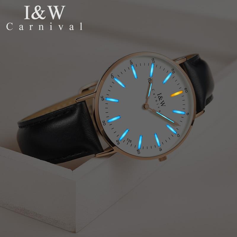 Fashion Ultra thin Ladies Watch CARNIVAL Tritium Watch Imported Quartz Movement Sapphire Leather Strap Waterproof Women Watches - 4