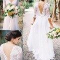 Bohemian Vestidos Lace Applique Vestidos de Casamento Com Decote Em V Metade Mangas Low Back A Linha Sheer vestidos de Noiva Vestidos de Casamento Plissados