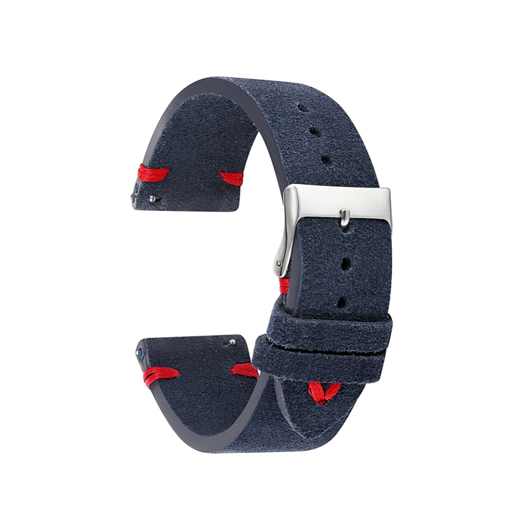 Suede Design Classical Genuine Leather Watchband 18mm 20mm 22mm Cowhide Watch Band Belts Accessories Watch Straps KZSD02