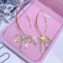 Drilling earrings women bows fashion temperament personality Korean pendant girls simple  long rhinestone