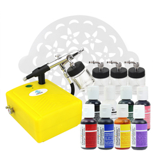 цена на OPHIR Professional Cake Airbrush Kit with Air Compressor Edible Pigment & Cake Stencils Paint for Cake Decorating Food Coloring