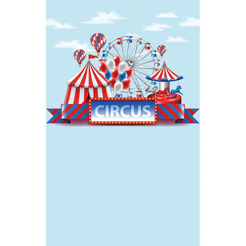 blue sky white clouds circus striped tent hot air balloon fiesta theme backdrop Vinyl cloth Computer print wall Background