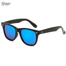 Qigge 새로운 브랜드 유행 Unisex 광장 빈티지 HD 렌즈 선글라스 남자 관광 운전 블랙 플라스틱 프레임 태양 안경 UV400