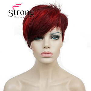 Image 2 - StrongBeauty Short Side Bang Red Asymetrical Straight  Wig Full Synthetic Wigs COLOUR CHOICES