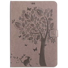 XIN-MUM For Samsung Galaxy Tab E 9.6 T560 T561 Cat and tree PU Leather Tablet Case For Samsung SM-T560 SM-T561 With Card Slot litchi texture pu pc horizontal flip leather case for galaxy note 9 with with card slot black