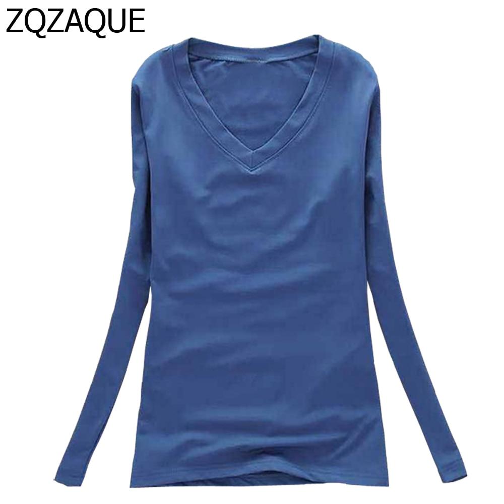 New Fashion 16 Colors Women's V-Neck Long Sleeve T Shirts Females Underwear Base Tops Autumn Winter High Elastic Bottom T-Shirts