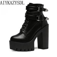 AIYKAZYSDL/женские ботильоны из искусственной кожи/замши; байкерские ботинки в байкерском стиле; обувь на очень высоком каблуке с пряжкой в стиле панк