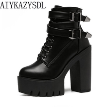 AIYKAZYSDL Women Ankle Boots Faux Leather/Suede Motorcycle Biker Bootie Punk Buckle Platform Block Ultra Very High Heel Shoes