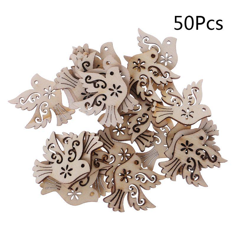 50PcsBag Laser Cut Wood Peace Pigeon Embellishment Wooden Shape Craft Wedding Decor