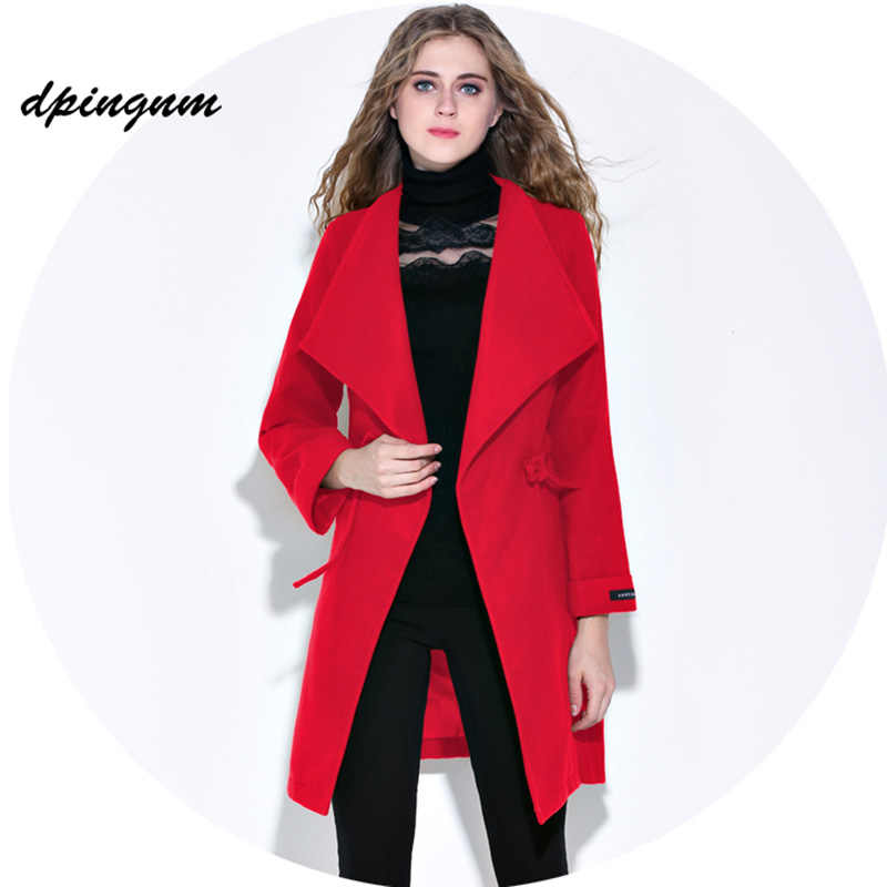 2db37d7f205 dpingnm Autumn Winter Trench Coat for Women Adjustable Waist Slim Solid red Coat  White Long Trench