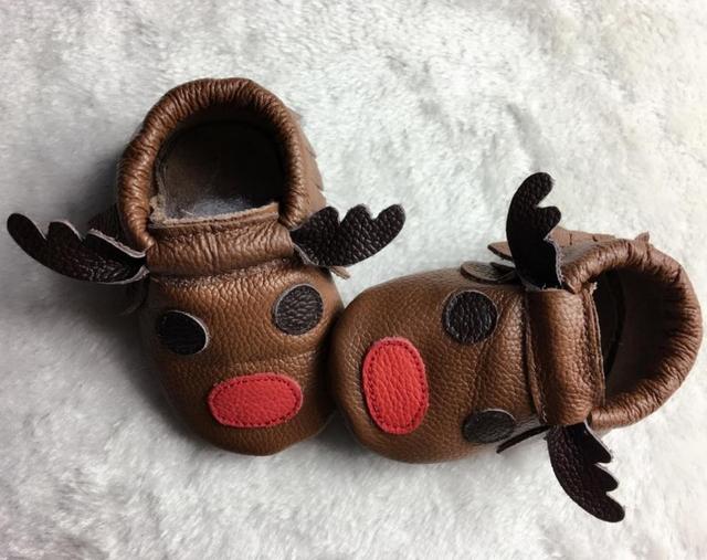 Zapatos de bebé de cuero genuino lindo animal prints primer caminante del bebé niños niñas zapatos mocasines niños franja niño suaves zapatos de los niños