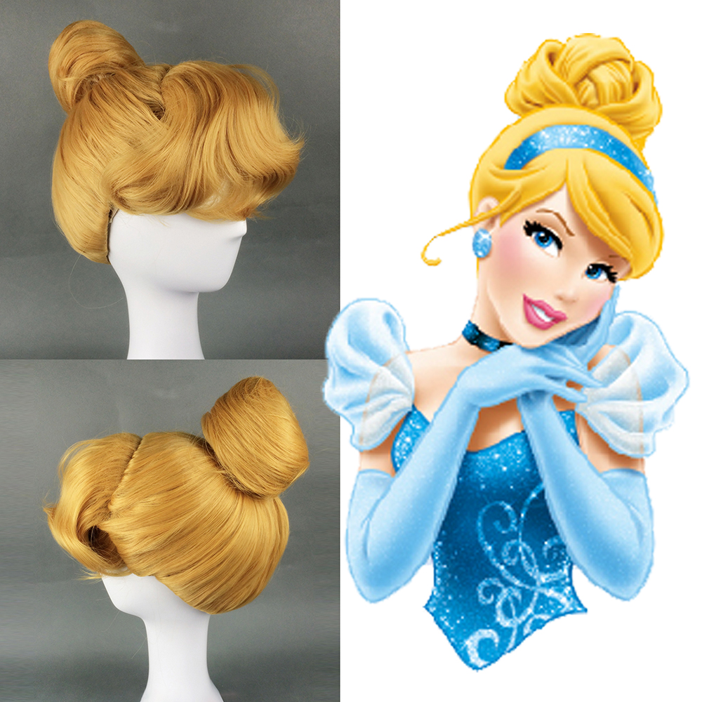 Women's Cinderella Costume Adult Fairytale Princess Blonde Short Curly Bun Heat Resistant Hair Halloween Party Fancy Dress
