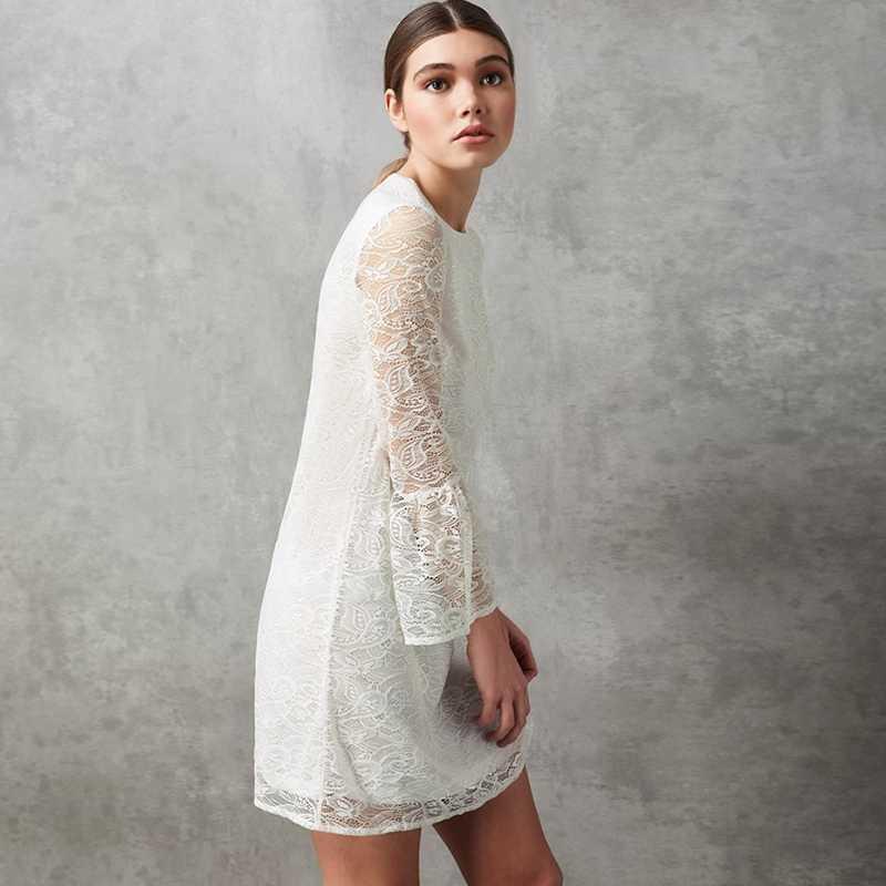HDY Haoduoyi бренд 2019 женское белое кружевное мини-платье с расклешенными рукавами и вышивкой с круглым вырезом, сексуальное женское платье Vestidos