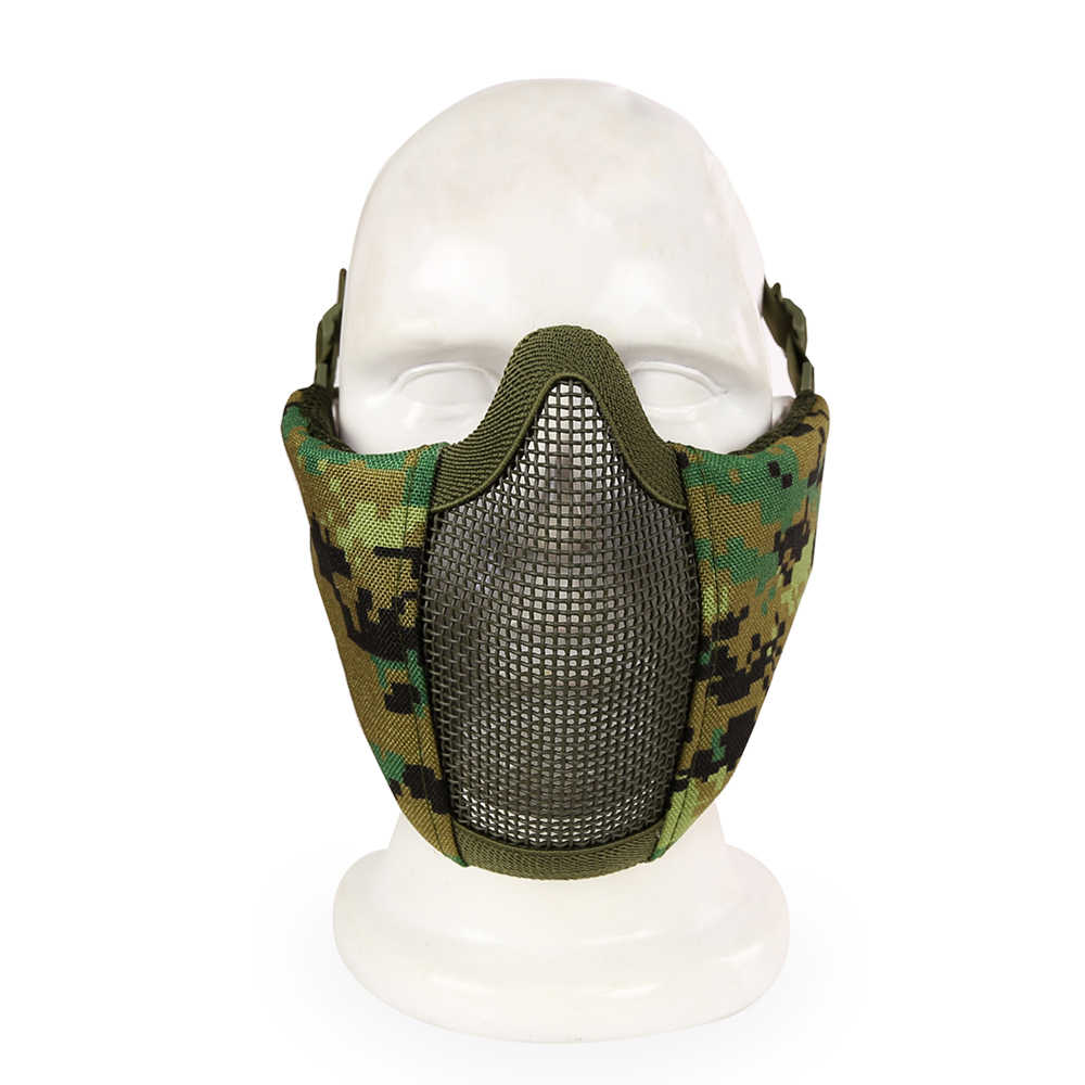 Камуфляжная страйкбольная полумаска для лица, Металлическая стальная сетка, тактическая Пейнтбольная охотничья велосипедная Защитная дышащая маска для CS Wargame